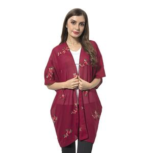 Red 100% Polyester Small Rose Flower Emboridered Pattern Kimono (27.56x31.49 in)