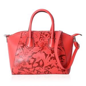 Red and Maroon Flower Pattern Faux Leather Tote Bag with Removable Shoulder Strap (13x7.5x9 in)