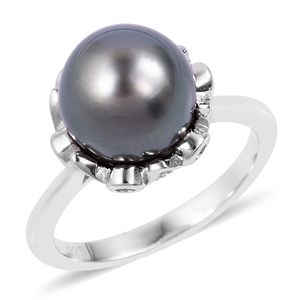 Tahitian Pearl (10-10.5 mm), White Zircon Sterling Silver Ring (Size 7.0) TGW 0.31 cts.