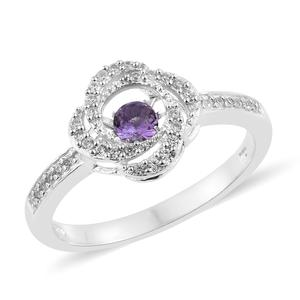 Rose De Maroc Amethyst Love Knot Ring in Platinum Over Sterling Silver 0.62 cttw (Size 7.0)