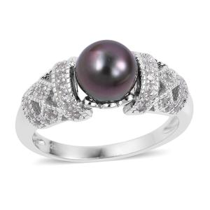 Tahitian Pearl (8-9 mm), White Zircon Sterling Silver Ring (Size 7.0) TGW 0.49 cts.
