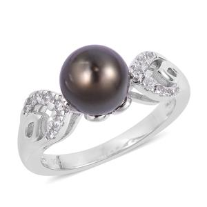 Tahitian Pearl (8-9 mm), White Zircon Sterling Silver Ring (Size 7.0) TGW 0.18 cts.