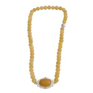 One Time Only Burmese Yellow Jade, Brazilian Citrine 14K YG Over and Sterling Silver Beaded Side Pendant Necklace with Magnetic Clasp (18 in) TGW 246.98 cts.