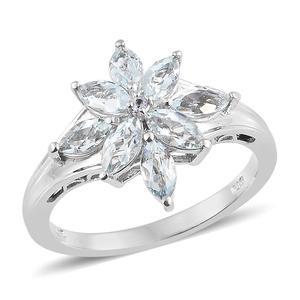 Espirito Santo Aquamarine, Tanzanite Platinum Over Sterling Silver Floral Ring (Size 7.0) TGW 1.70 cts.