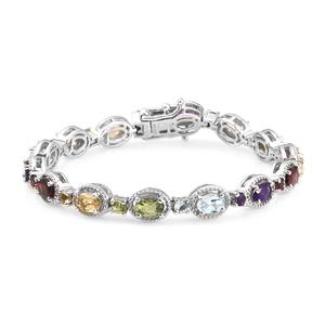 Memorial Day Deal Multi Gemstone Platinum Over Sterling Silver Bracelet (6.75 In) TGW 7.95 cts.