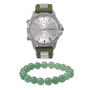 STRADA Japanese Movement Water Resistant Watch in Silvertone with Green Silicone Straps & Stainless Steel Back and Green Aventurine Beads Bracelet (Stretchable) TGW 147.50 cts.