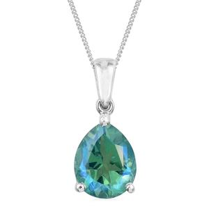 Peacock Quartz Platinum Over Sterling Silver Pendant With Chain (20 in) TGW 2.70 cts.