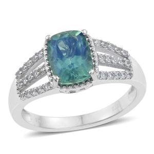Peacock Quartz, Cambodian Zircon Platinum Over Sterling Silver Ring (Size 7.0) TGW 2.75 cts.