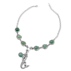 Green Aventurine Black Oxidized Silvertone Necklace (18 in) TGW 105.00 cts.