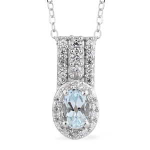 Espirito Santo Aquamarine, Cambodian Zircon Platinum Over Sterling Silver Pendant With Chain (20 in) TGW 0.83 cts.