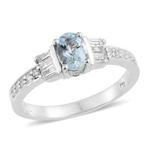 Espirito Santo Aquamarine, White Topaz Platinum Over Sterling Silver Ring (Size 7.0) TGW 1.25 cts.