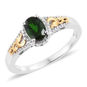 Russian Diopside 14K YG and Platinum Over Sterling Silver Ring (Size 5.0) TGW 1.20 cts.