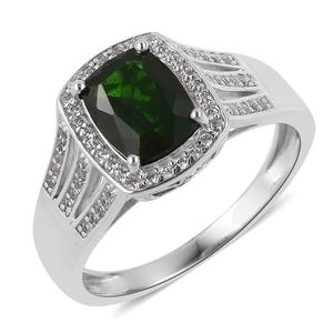 Russian Diopside, White Zircon Sterling Silver Split Ring (Size 7.0) TGW 2.40 cts.