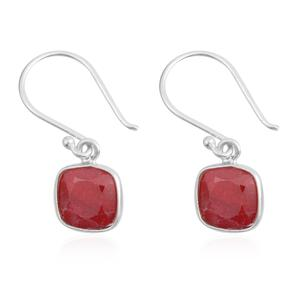 One Time Only Ruby (Color Enhanced) Sterling Silver Earrings TGW 4.75 cts.