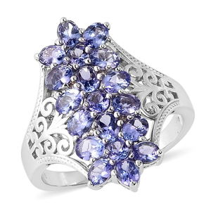Tanzanite Sterling Silver Elongated Floral Ring (Size 7.0) TGW 3.23 cts.