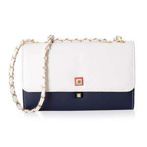 Navy and White Crossbody Bag (10.1x3.3x6.1 in) with Magnetic Closure