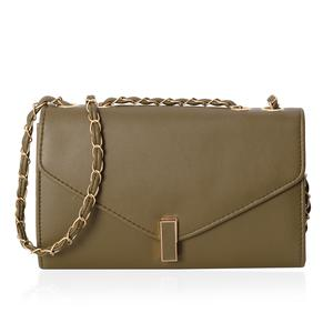 Olive Crossbody Bag (10.1x3.3x6.1 in) with Turn-Lock Closure
