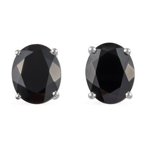 Thai Black Spinel Sterling Silver Oval Stud Earrings TGW 6.46 cts.
