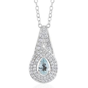 Espirito Santo Aquamarine, Cambodian Zircon Platinum Over Sterling Silver Pendant With Chain (20 in) TGW 0.69 cts.
