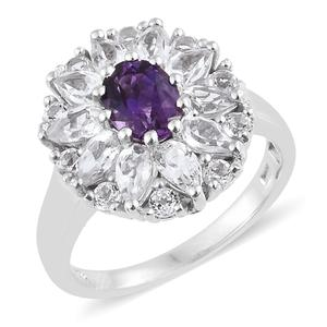 Moroccan Amethyst, White Topaz Platinum Over Sterling Silver Cluster Ring (Size 7.0) TGW 4.70 cts.