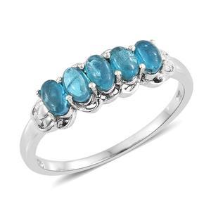 Malgache Neon Apatite Platinum Over Sterling Silver 5 Stone Ring (Size 7.0) TGW 1.45 cts.