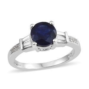 Masoala Sapphire, Cambodian Zircon Platinum Over Sterling Silver Ring (Size 7.0) TGW 3.45 cts.