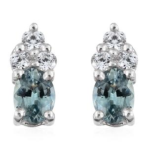 Montana Sapphire, Cambodian Zircon Platinum Over Sterling Silver Stud Earrings TGW 0.60 cts.