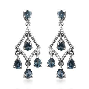 Montana Sapphire Platinum Over Sterling Silver Chandelier Earrings TGW 2.10 cts.