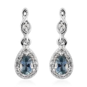 Montana Sapphire, Cambodian Zircon Platinum Over Sterling Silver Drop Earrings TGW 0.70 cts.
