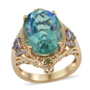 Peacock Quartz, Multi Gemstone Vermeil YG Over Sterling Silver Ring (Size 10.0) TGW 13.46 cts.
