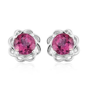 Pure Pink Mystic Topaz Platinum Over Sterling Silver Stud Earrings TGW 3.00 cts.