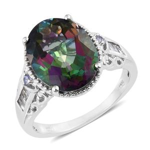 Northern Lights Mystic Topaz, Multi Gemstone Platinum Over Sterling Silver Ring (Size 7.0) TGW 11.81 cts.