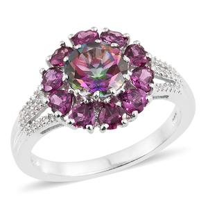 Northern Lights Mystic Topaz, Multi Gemstone Platinum Over Sterling Silver Ring (Size 7.0) TGW 4.55 cts.