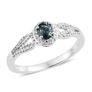 Montana Sapphire, Cambodian Zircon Platinum Over Sterling Silver Halo Migrain Ring (Size 7.0) TGW 0.63 cts.