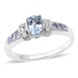 Espirito Santo Aquamarine, Multi Gemstone Sterling Silver Ring (Size 7.0) TGW 1.24 cts.