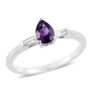 Moroccan Amethyst, Cambodian Zircon Platinum Over Sterling Silver Ring (Size 8.0) TGW 0.91 cts.