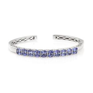 Tanzanite Platinum Over Sterling Silver Cuff (7.25 in) TGW 6.25 cts.