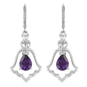 Moroccan Amethyst, White Topaz Platinum Over Sterling Silver Lever Back Bell Earrings TGW 2.58 cts.