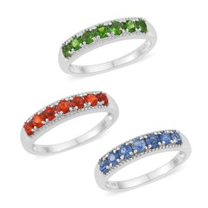 Set of 3 Crimson Fire Opal, Himalayan Kyanite, Russian Diopside Platinum Over Sterling Silver 7 Stone Band Rings (Size 6) TGW 2.17 cts.