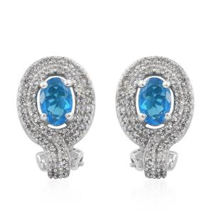 MEGA CLEARANCE Malgache Neon Apatite, Cambodian Zircon Platinum Over Sterling Silver Omega Clip Earrings TGW 1.66 cts.