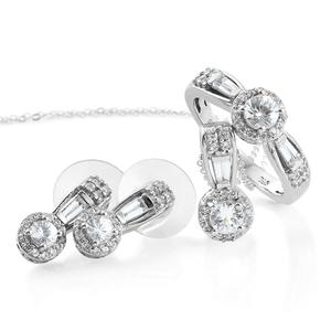 Natural White Zircon Platinum Over Sterling Silver Earrings, Ring (Size 8) and Pendant With Chain (20 in) TGW 3.60 cts.