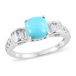 Arizona Sleeping Beauty Turquoise, White Topaz Platinum Over Sterling Silver Ring (Size 8.0) TGW 2.90 cts.