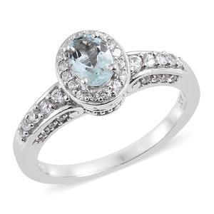 Espirito Santo Aquamarine, Cambodian Zircon Platinum Over Sterling Silver Ring (Size 7.0) TGW 1.39 cts.
