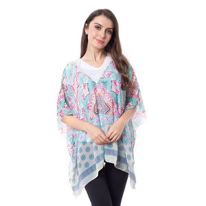 Cream 100% Polyester Lace V-neck Floral Pattern Poncho (One Size)