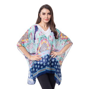 Navy 100% Polyester Lace V-neck Floral Pattern Poncho (One Size)