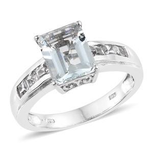 Espirito Santo Aquamarine, White Topaz Platinum Over Sterling Silver Ring (Size 8.0) TGW 3.55 cts.