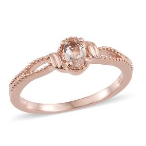 Marropino Morganite Vermeil RG Over Sterling Silver Solitaire Split Ring (Size 8.0) TGW 0.40 cts.