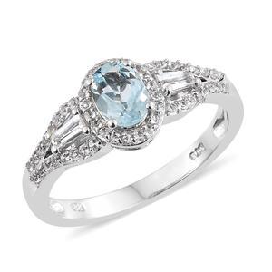 Espirito Santo Aquamarine, White Topaz Platinum Over Sterling Silver Ring (Size 8.0) TGW 1.33 cts.