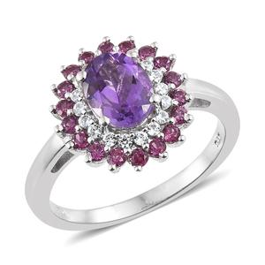 Rose De Maroc Amethyst Halo Ring in Platinum Over Sterling Silver 2.94 cttw (Size 5.0)