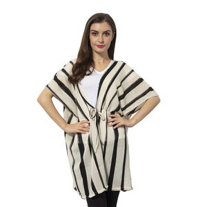 White 100% Polyester Strip Pattern Kimono (31.5x29.53 in)